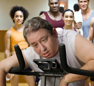 Speed up your workouts by avoiding eye contact with anyone in better shape than you.