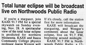 Eclipse on radio copy