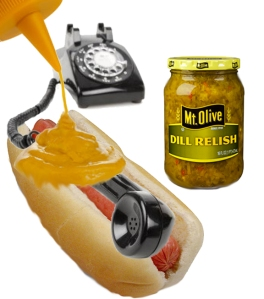 Telephone with mustard
