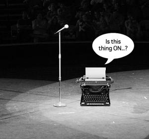 Typewriter at mic