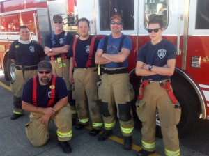 My Engine 2 crew, in position for July Fourth;  all dressed up and no where to go — which wasn't a bad thing...