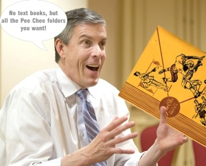Education Secretary Arnie Duncan promises no child's will get left behind when it comes to getting a Pee Chee folder.