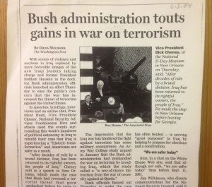The article, as it appeared in the Register-Guard newspaper. I especially like the added touch of having a tank behind Dick Cheney. Was that for effect or just part of his security detail?