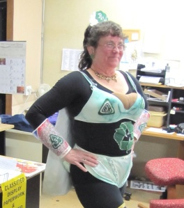 """Peggy"" shows off her new breasts, which were the only ones covered under our company's Cosmetic Surgery plan."