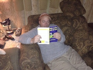 Here is an example of a typical reaction to someone receiving a copy of my book. (Couch sold separately)