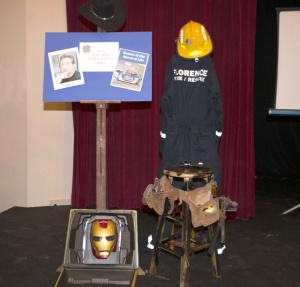 The Iron Man case I made for a midnight premier of IM2, some firefighting gear and my tool belt for when I play... uh... never mind.