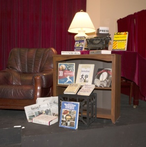 "A ""hot seat""  I've never seen before, various books that aren't mine and copies of Siuslaw News."