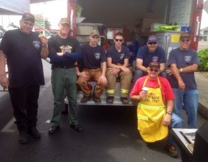 A few of the nearly 50 members of our local volunteer fire department during our annual Hamburger Feed fundraiser. And no, we don't raise the funds to buy hamburgers...