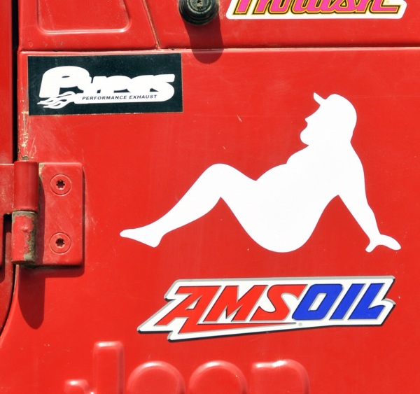 Caught this on a passing truck. I'm sure the mud flaps are already in production, ladies