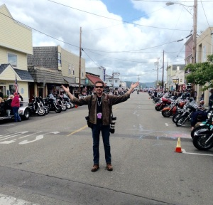 "Standing in Old Town last year, before Sunday's big parade. Sadly, still no sign of Jax or Chibs from ""Sons of Anarchy."""