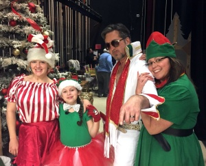 """Elfis"" with his main elfette squeeze (and real-life wife) ""Prissy"" (right) and fellow elves."